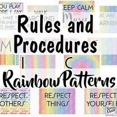 Decorate your music classroom with useful and appealing visuals! The fun patterns in rainbow colors are designed to appeal to a wide range of ages and fit in with a variety of other posters, themes, and other visual elements you may already be using in your classroom. This set includes posters for b... Elementary Choir, Elementary Music Lessons, Music Lessons For Kids, New Teachers, Music Teachers, Music Classroom, Classroom Setup, Middle School Music, Music Activities