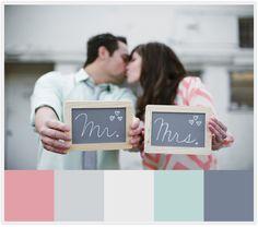 Mr & Mrs Chalkboard signs! Mint + Gray + Coral