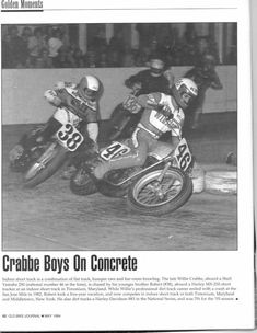 The late Willie Crabbe #46 and younger brother Robert Crabbe #38 at an indoor short-track at Timonium, MD