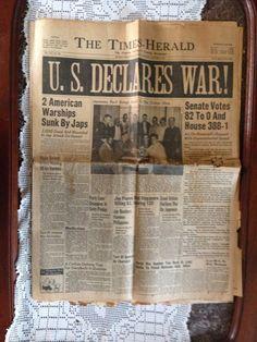 Vintage Newspaper  December 8 1941 by LifetimeFinds on Etsy, $20.00