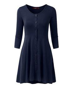 Look what I found on #zulily! Navy Three-Quarter Sleeve Dress #zulilyfinds