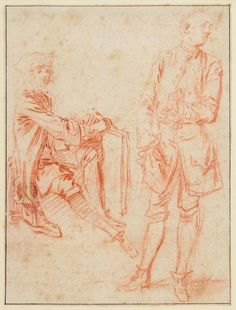 Jean-Antoine Watteau (1684–1721), Studies of a Seated Man with Drawing Portfolio and Standing Man, ca. 1710. Red chalk, within brown ink framing lines, 4 7/8 x 3 5/8 in. (12.4 x 9.2 cm). Private collection.