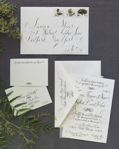 Love the fancy flourishes on this calligraphed suite