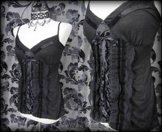 Gothic Romantic Black Lace Velvet Ruffle Cami Corset Top 8 10 Elegant Vamp Goth   THE WILTED ROSE GARDEN on eBay // Worldwide Shipping Available