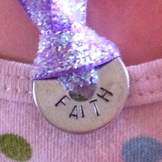 Stamped washer pendant on ribbon necklace! Love this. :)
