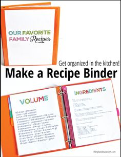 Kids recipes and organizer. Get your kitchen organized! Make a family binder with printables from Thirty Handmade Days Recipe Organization, Kitchen Organization, Organization Hacks, Organizing Life, Organizing Ideas, Fixer Upper, Home Binder, Budget Binder, Planning Budget