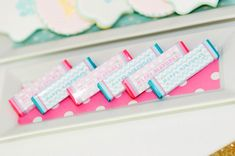 Printable gum wrappers for monogram birthday party