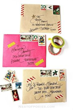 red + white barber pole stripe washi is cute, but would apply differently: A fun and creative way for addressing Christmas Envelopes. Use washi tape, vintage stamps and stickers to make your Christmas cards stand out! Christmas Time Is Here, Christmas Love, All Things Christmas, Merry Christmas, Christmas Cards, Xmas, Christmas Letters, Homemade Christmas, Christmas Projects