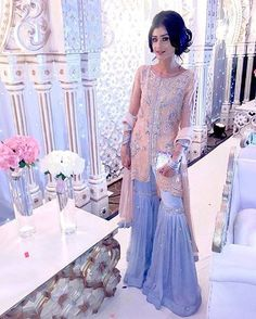 Image may contain: 1 person Pakistani Wedding Outfits, Pakistani Bridal, Pakistani Dresses, Indian Dresses, Indian Outfits, Pakistani Gharara, Pakistani Couture, Walima, Indian Lehenga