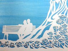 Roses in the Sun papercut ketubah  hand lettering  by jerise