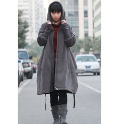 Free Style Zipper Hoodie Jacket with Cotton Lining/ Winter Coat/ GREY and BLACK  Wil ik!