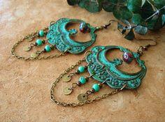 Large Patina Chandelier Earrings Junk Gypsy Rustic by BohoStyleMe