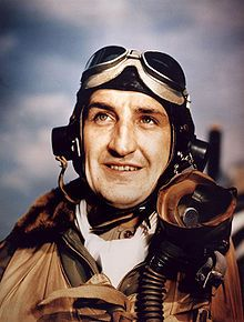 """P-47 pilot Lt Col Francis S. """"Gabby"""" Gabreski, 56th Fighter Group, leading ace of the 8th Air Force"""