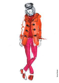Anna Granat Fashion illustration, Gucci Pre-Fall 2014; #fashion #illustration #fashionillustration #aquarelle #ink #art #annagranat