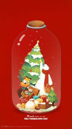 LOFTER(乐乎) - 每个人的理想国 New Year Illustration, Christmas Illustration, Illustrations, Phone Background Wallpaper, Iphone Wallpaper, Christmas Time, Christmas Cards, Xmas, Christmas Graphics