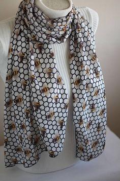 Honeycomb Scarf Bee Infinity Scarf Save The Bees Honey Bee