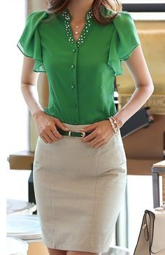 new fashion women OL office shirt blouse, Butterfly sleeve V-Neck casual tops, summer chiffon blouse top for women Look Office, Professional Outfits, Business Outfits, Work Attire, Casual Tops, Chiffon Tops, Chiffon Shirt, Blouse Designs, Shirt Blouses