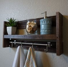 Modern Rustic Bathroom Shelf with Satin Nickel Finish by KeoDecor