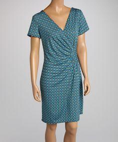 Look at this #zulilyfind! Teal Polka Dot Ruched Wrap Dress by AA Studio #zulilyfinds