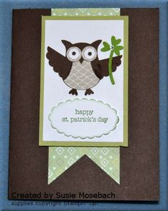 St. Patrick's Day card featuring Stampin' Up! owl builder punch and Teeny Tiny Wishes stamp set. See supply list on my blog. stampwithtrude.blogspot.com