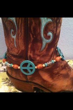 Boot Bling/Boot Anklet/Boot Jewelry Turquoise Peace Signs Super Cute. $17.00, via Etsy.