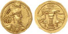 Sassanian Empire AV Dinar ND Kabul Mint Ardashir II 379-83AD
