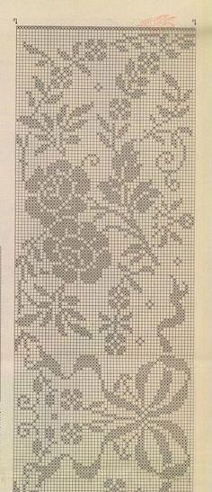 Disk - Uncinetto - Motivi Per Uncinetto Crochet Curtain Pattern, Crochet Motif Patterns, Filet Crochet Charts, Crochet Curtains, Crochet Diagram, Knitting Charts, Knitting Stitches, Stitch Patterns, Crochet Table Runner