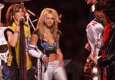 The Most Showstopping Super Bowl Halftime Outfits Of All-Time 19:Britney Spears, Steve  Tyler and Nelly