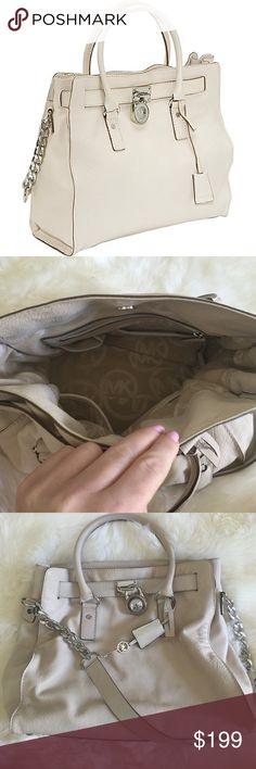Selling this Michael Kors Cream Hamilton Leather Large Satchel on Poshmark! My username is: lafashiongirll. #shopmycloset #poshmark #fashion #shopping #style #forsale #Michael Kors #Handbags