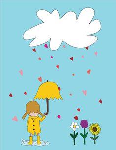 Baby Girl Nursery Art Print - 8x10 Illustration Art Print - Let Love Rain Forever - Flowers, Girl, Rain boots, Cute, Gift, Nursery Decor