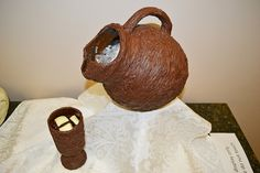 """The winner of the Edible Books Contest, this pitcher and cup representing """"Like Water for Chocolate"""" by Laura Esquivel. #edible #books"""