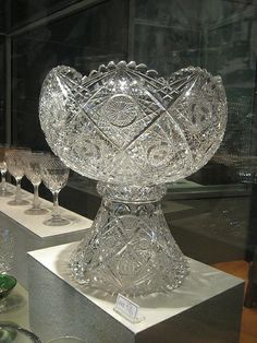 Hoare Punch Bowl ca - American Brilliant Cut Glass Punch Bowl.