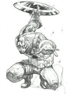 Captain America Drawing, Captain America Art, Captain America Comic Books, Comic Book Characters, Marvel Characters, Comic Books Art, Marvel Drawings, Art Drawings, Comic Style Art