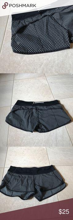 Lululemon sz 10 Black with white dot sz 10 lululemon shorts, back zip and pull closure at front lululemon athletica Shorts