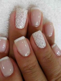 French Tips with a floral design Nails