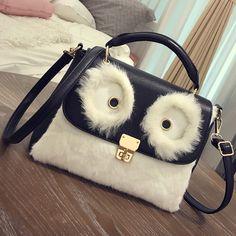 Bolsa Divertida Olhos de Coruja designer bolsas de Pelúcia Bolsas Divertidas