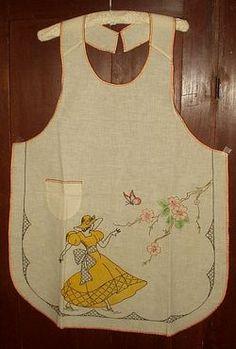 #vintage apron #tinted embroidery #vintage
