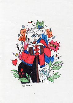 Harley Quinn • Concept Art// color sleeve ✤    ハーレークインとジョーカー (Hārēkuin to jōkā) • Dibujante: Eli Lescano - Instagram: @lilipooshin // Copiando el fabuloso estilo de dibujo de Erin Kavanagh ♠ (Erin Kavanagh) incluyendo algunos detalles florales característicos de @sibylline_m (Sibylline Meynet) ✨ •es.pinterest.com/kunstler9/harley-joker-suicide-squad-and-others/ •es.pinterest.com/kunstler9/mis-dibujos/