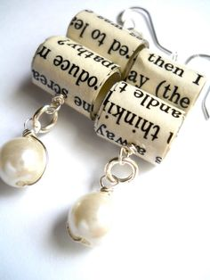 Bookworm Pearl Earrings Paper Bead Jewelry by TheUnwrittenWord, $18.00