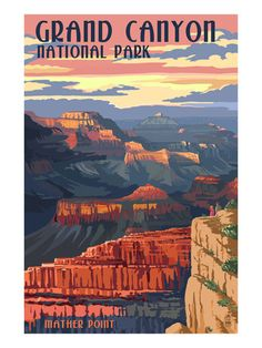 Posters of the National Parks we've visited. Grand Canyon National Park