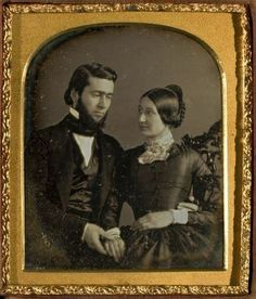 She's in love, her eyes reveal it, and he feels himself unworthy. James Bennett and his dearest Adie...ca.1850.