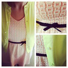 @Target #target small windowpane dress in coral   @J.Crew #jcrew yellow cardigan   www.shoppingmycloset.com