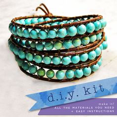 make your own - beaded leather wrap bracelet kit