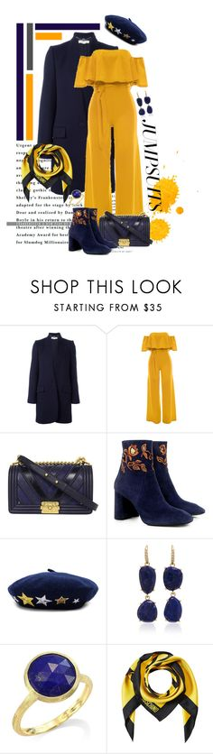"""""""Jumpsuits #blueandyellow"""" by katherineelisa ❤ liked on Polyvore featuring STELLA McCARTNEY, WithChic, Chanel, Eugenia Kim, Hat Attack, Lauren K, Marco Bicego, Moschino and jumpsuits"""