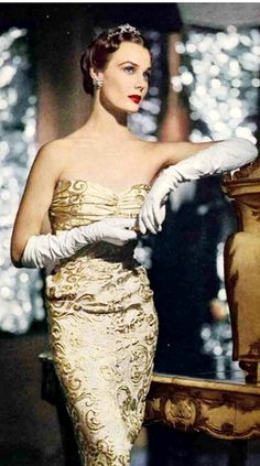 Strapless gold brocade evening gown, 1950 love the gloves.....You can skip the manicure.