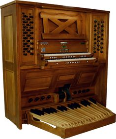 Magnus Positiv 2M45. This is a standard catalogue photo of a classy, baroque-style organ console.