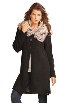 "Roamans Plus Size Fur Collar Sweater (Black,1X) Roamans. Save 64 Off!. $35.99. Novelty buttons down front. About 34"" from shoulder to hem. Sweater with fur trimmed open wing collar"