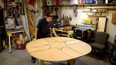 Instructional video of the expanding table design, and links for design plans / cut list, etc..