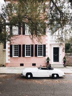 This week has consisted of candy colored historic homes fabulous dresses and this 1957 Benz dream car. I dont want to leave! More action on Interior Exterior, Exterior Design, Beautiful Homes, Beautiful Places, Pink Houses, Outdoor Living, Outdoor Decor, Retro Cars, Vintage Cars