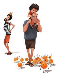 naranjas y zapatos #ParentingIllustration